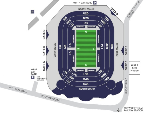 Image result for CHASE BRIDGE RUGBY HOSPITALITY MAP TWICKENHAM